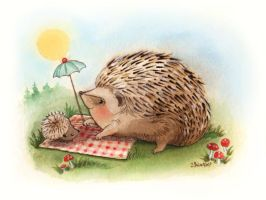 Hedgehog watercolor 1 by BlueBirdie