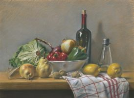 The kitchen : Pastel on Pastelmat by wimke