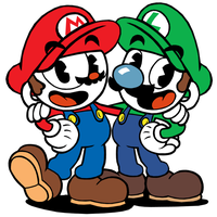 Cuphead and Mugman (Mario and Luigi) by Twin-Gamer