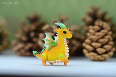 Ball-jointed dragon - yellow, orange, green, blue by dallia-art