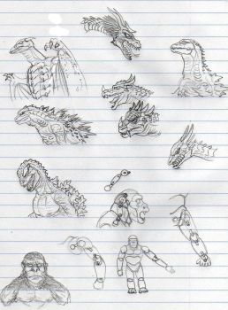 Godzilla and Kong SHMA sketches by CosbyDaf
