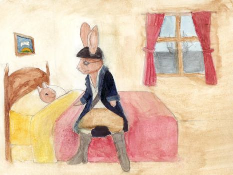 Captain Rabbit Ears and child by rockslide