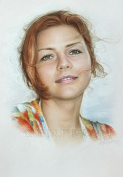Simple portrait of a beautiful girl by Dry Brush by Drawing-Portraits