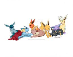 Nap Time Eeveelution by christi-chan