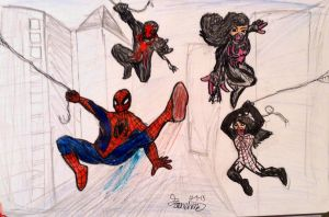 Spidey, Silk, Black and She Black Spider by Joey-GB-316