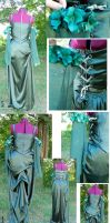 Forest Green Adjustable Medieval Gowns by dragonariaes