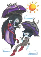 Marceline and Marshall Lee umbrellas by Xcoqui