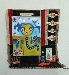 Assemblage/painting: Halloworm by bugatha1