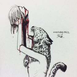 Inktober #23 - Juicy/The Snow Leopard/Decapitation by tirmesaito