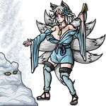 Snow-Fox Burying an Opponent in Magical Snow by phoenixignis