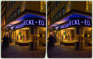 Roeckl Eck, Munich 3-D / CrossView / HDR / Raw by zour