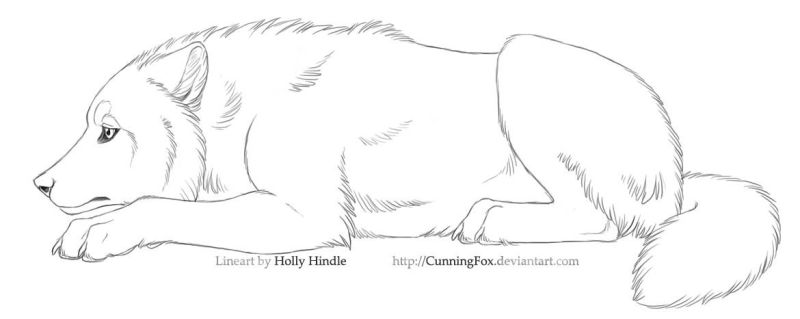 Free lineart - Sad wolf laying by Bear-hybrid