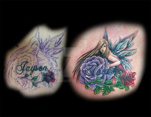 fairy cover-up tattoo