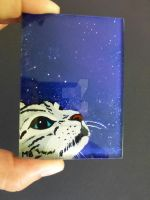 ACEO Cat galaxy-reverse acrylic painting on glass by Actlikenaturedoes
