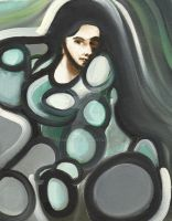 Abstract circular woman painting by TOMMERVIK