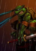 Leonardo in the rain by MightyMoose