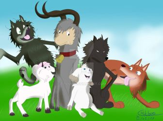 Wolves and goats and a ram by Titeufii