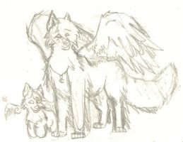 Winged Sika and Chibi Sika by BladerWolf