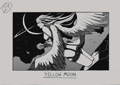Day 29 - Yellow Moon by Inui-Purrl