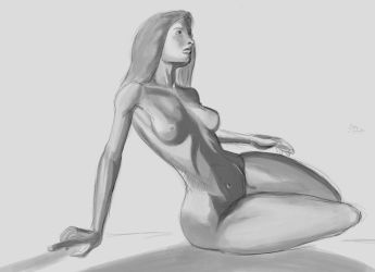 Red Nude Sketch by mechaguy