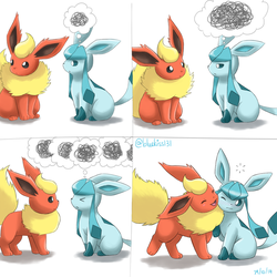 Flareon x Glaceon by BluuKiss