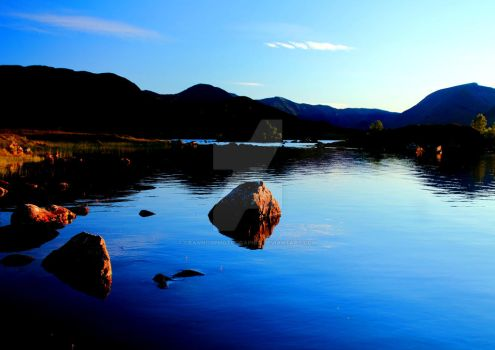Sunset at lochan na h-Achlaise 1 by Crannogphotographic