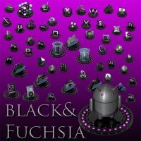 black and fuchsia icon set by xylomon