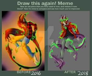 Draw This Again (October 2016 vs October 2018) by DawnStarSky