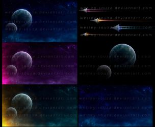 Space with Spaceships - stock package by Wesley-Souza