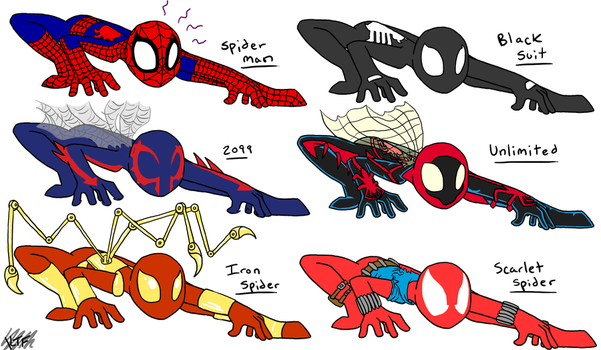Spidey Suits by SystemEmotions