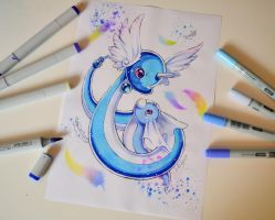 Dratini and Dragonair by Lighane