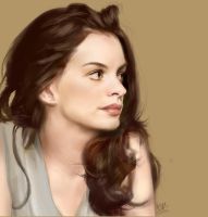 iPad finger painting of Anne Hathaway by chaseroflight
