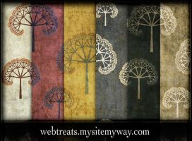 Grungy Fractal Tree Patterns by WebTreatsETC