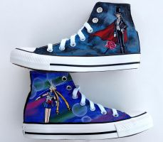 Sailor Moon and Tuxedo Mask Converse by Ceil