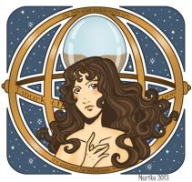 Hermione and the Time-turner (Art Nouveau) by mistressmariko