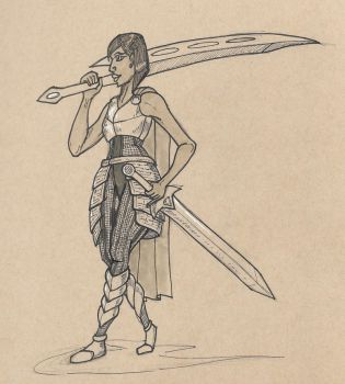 Inktober 06, 2017 (Swordswoman) by KingArthur13th