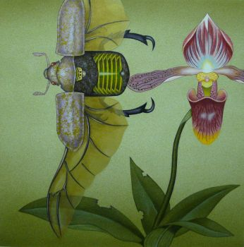 Beetle and the Lady's Slipper by opiumtraum
