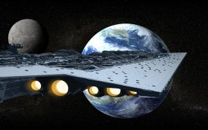 Super Star Destroyer and Earth by MightyPirate