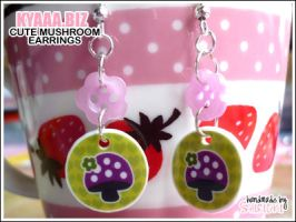 Pink Mushroom Earrings by shiricki