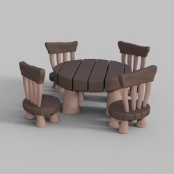 Toon table and chairs (clay render) by BubbleCloud