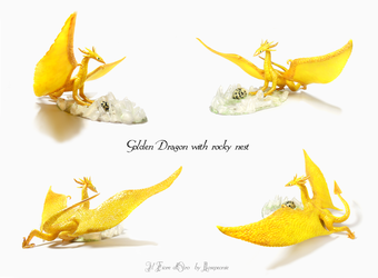 Golden Dragon with rocky nest by rosepeonie