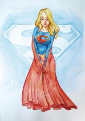 Watercolor supergirl by Thunkstudio