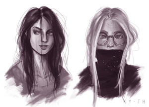 [commission] b/w study portraits by Ky-th