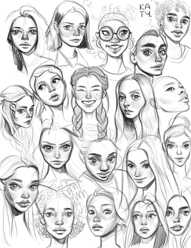 HeadSketches 1080 by katyillustrates