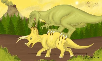 T.Rex Attacking Triceratops by Louisetheanimator