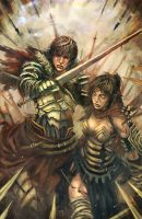 guy and girl warriors by longai