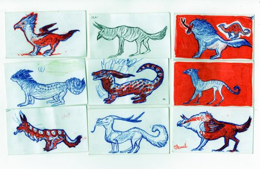 Nine Little Monstercards by rachelroach