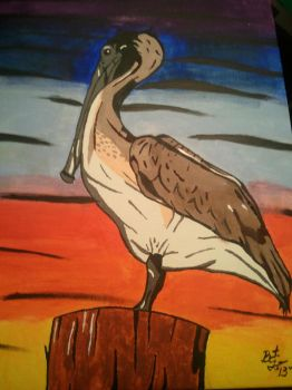 Brown pelican on a post! by BrentTew