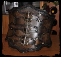 hard leather corset by Lagueuse