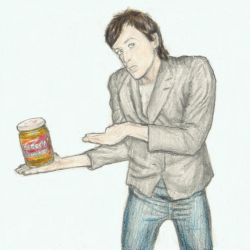 Iggy Pop with a jar of peanut butter by gagambo